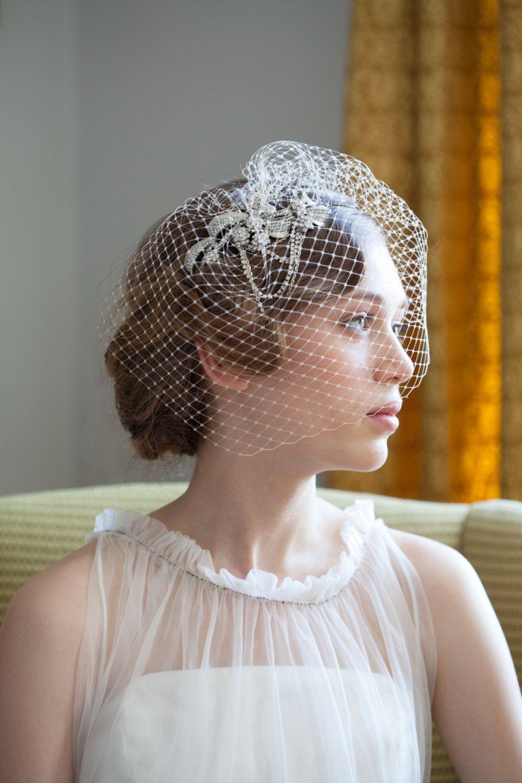 wedding birdcage veil and side headpiece set - crystal hair