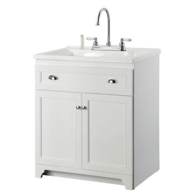 foremost keats 30 in laundry vanity in white and premium acrylic sink in white and - Foremost Vanity