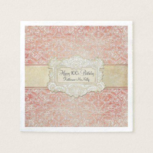100th Birthday Party Vintage French Regency Lace Napkin   Zazzle.com