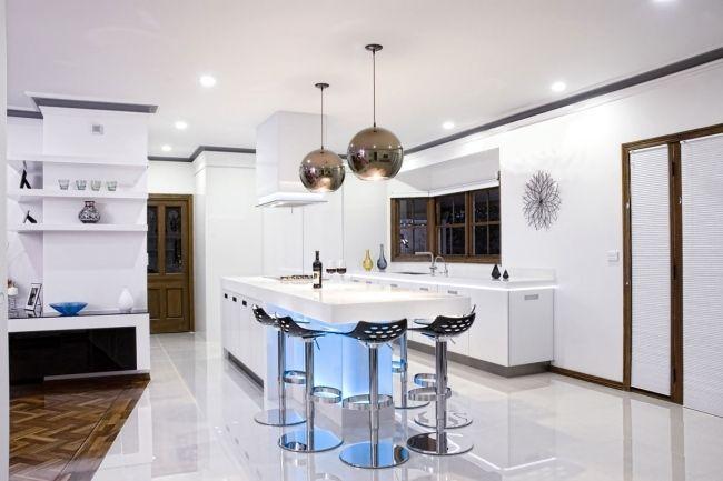 Ordinaire Wohnideen Moderne Küche Weiß Pendelleuchten Unterbauleuchten (650×