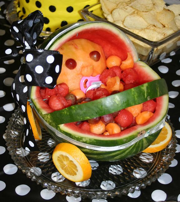 Carved watermelon fruit tray for bee themed baby shower for Baby shower tray decoration