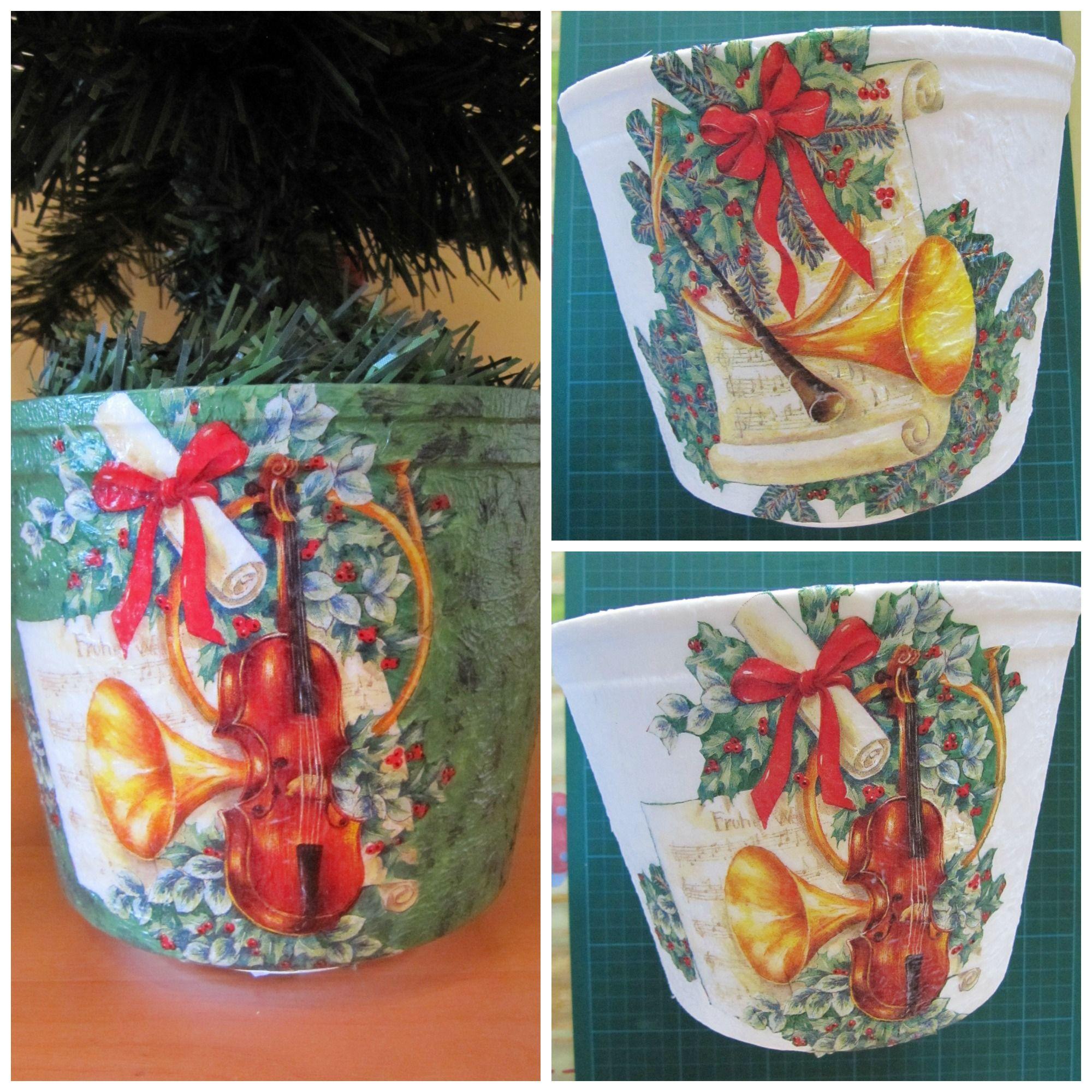 tiesto rbol de navidad decorado con servilleta de papel