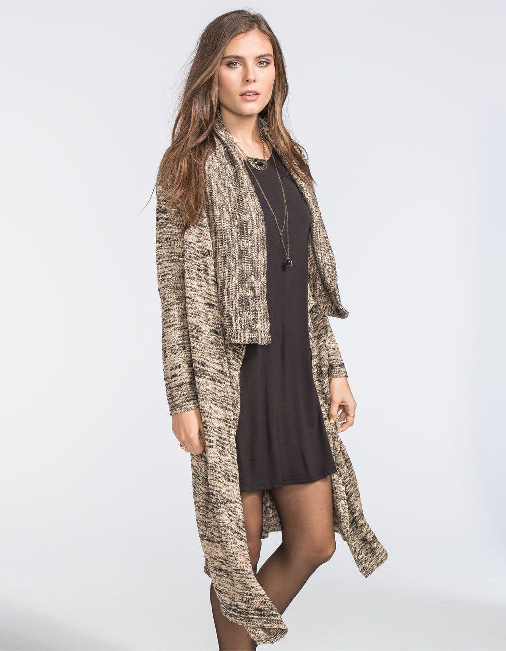 Lira Ebony knit duster cardigan. Open front. Long length. 100 ...