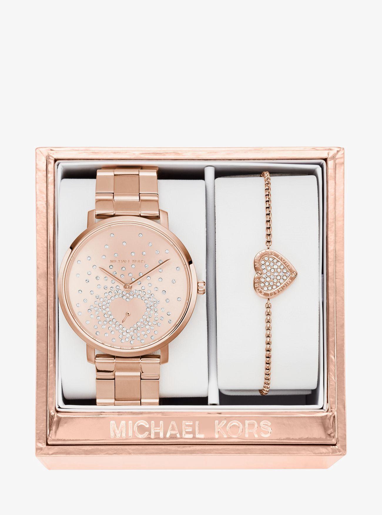 Jaryn Rose Gold Tone Watch And Bracelet