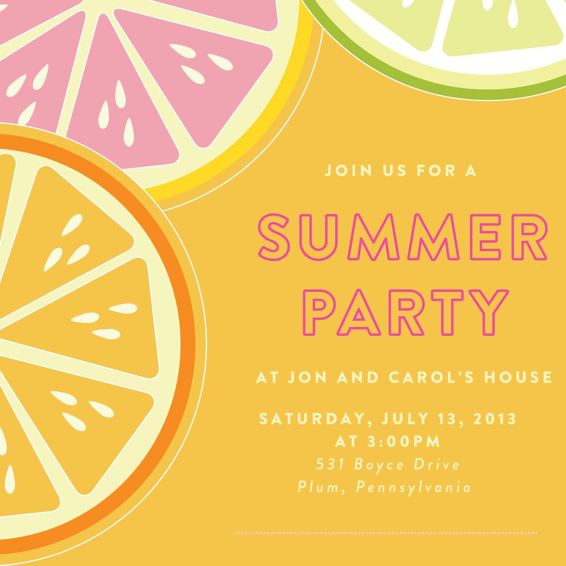 Summer Party Invitation Template Card Invitation Templates Party Invite Template Bbq Party Invitations Party Invite Design