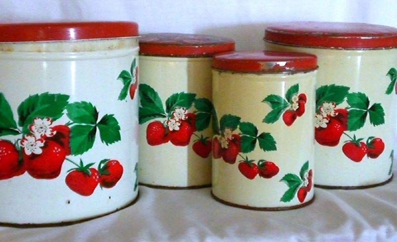 vintage strawberry canister set