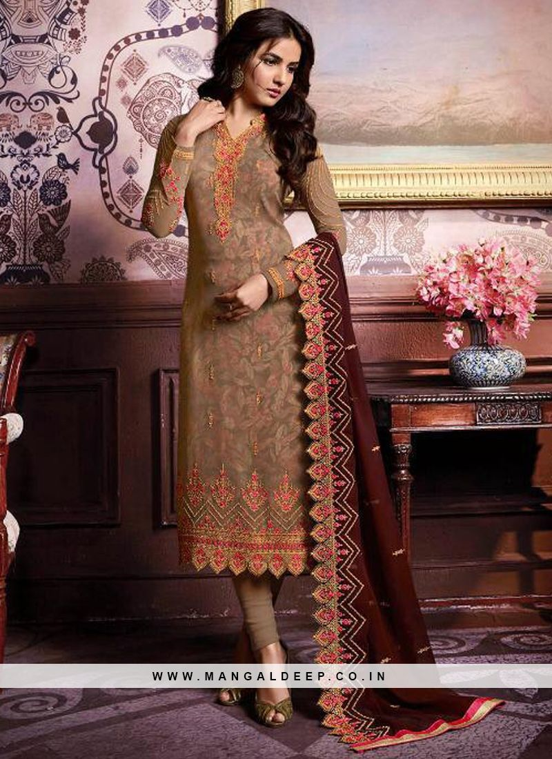 ef1c275c5e Charming Beige Color Party Wear Suit With Embroidery Work #beige  #salwarkameez #designersalwarkameez