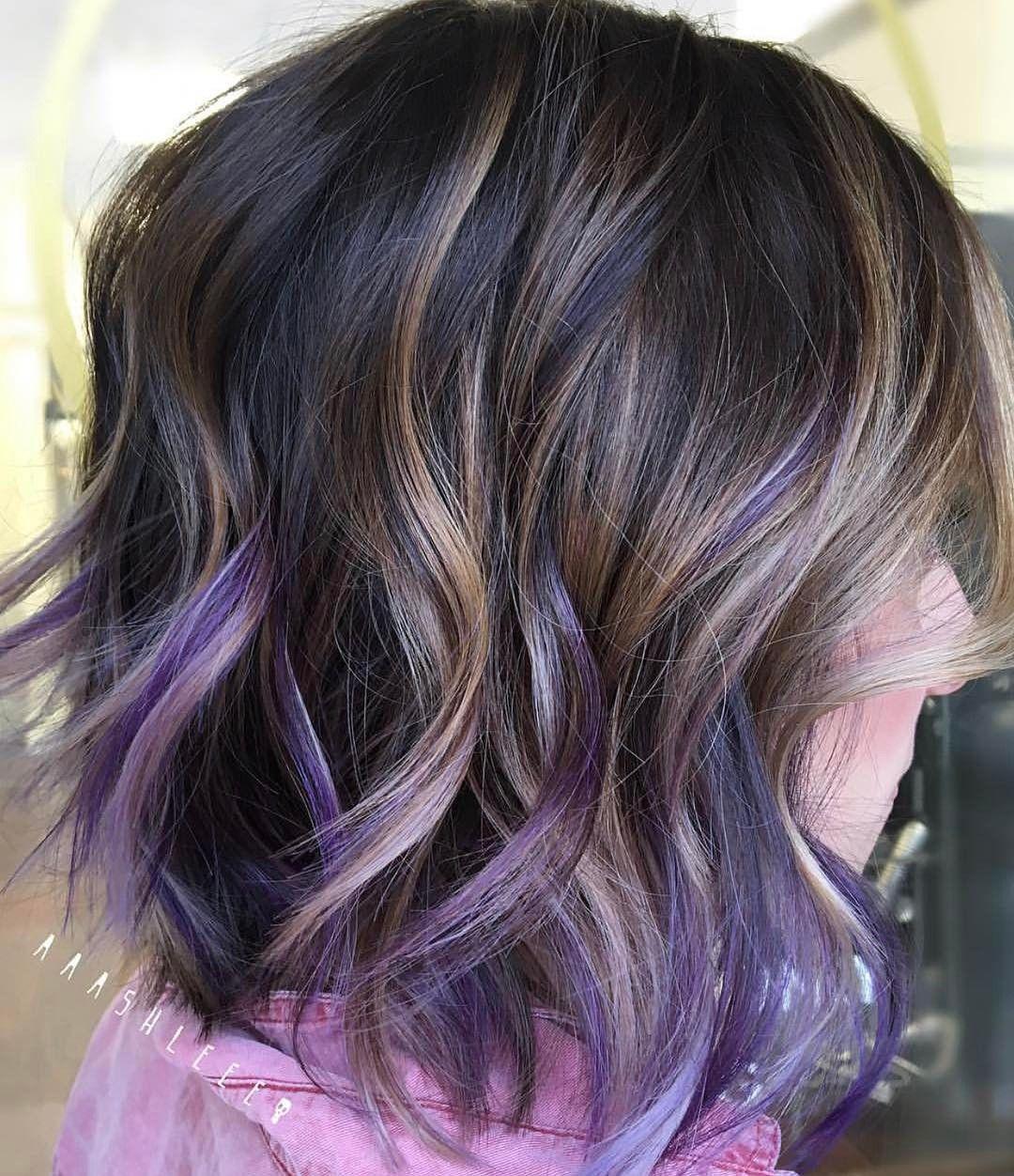Short Purple Hair Highlights Purple Hair Highlights Purple Highlights Brown Hair Short Purple Hair