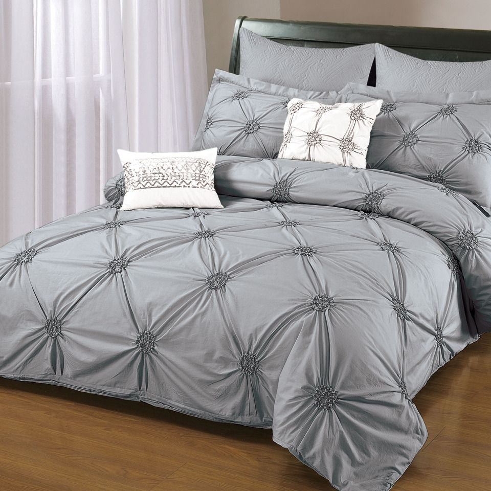 Gray Embroidered Comforter : Piece ruched embroidered duvet cover set in gray