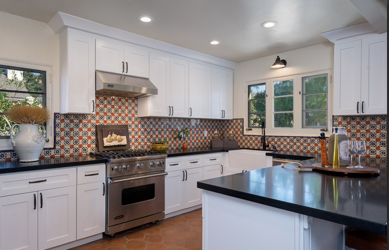 Montecito Modern White Shaker Cabinets Talavera Tile Backsplash Black Honed Granite Saltillo Tile Metallic Backsplash Kitchen Vintage Kitchen