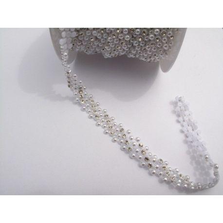 Borta plast s perlami a kamienkami 15mm kryštal- biela  bfa3e0879b3