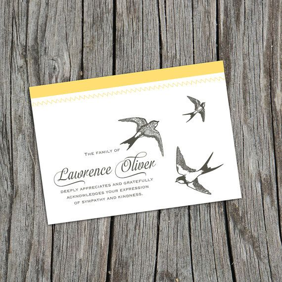 Soaring Sparrows Personalized Thank You Cards, Sympathy Thank You