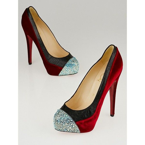 Pre-owned Christian Louboutin Red Velvet/Black Ostrich and Strass... (108565 DZD) ❤ liked on Polyvore featuring shoes, pumps, black velvet shoes, red velvet pumps, red sole pumps, red sparkle pumps and christian louboutin pumps