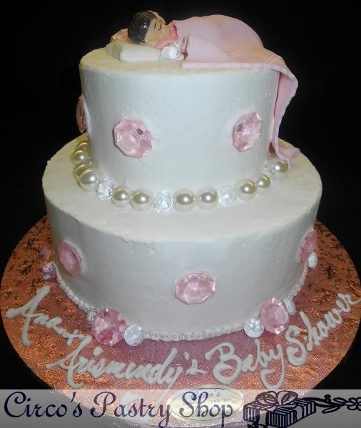 Diamonds And Pearls Baby Shower Cake Icing Cream Baby Shower Tier Cake With  Pearls And Diamonds