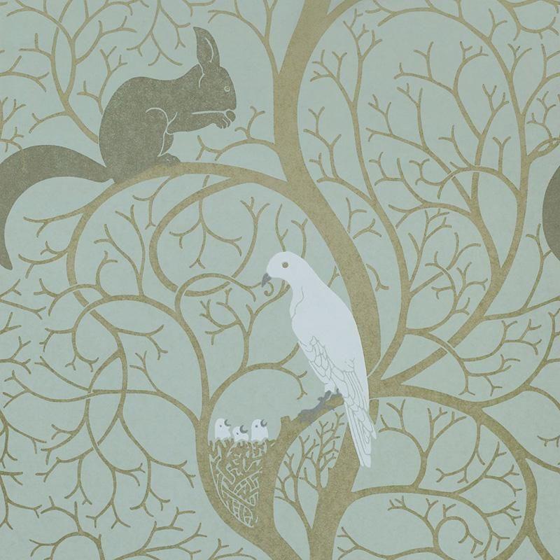 Buy Sanderson DVIWSQ103 Squirrel and Dove Wallpaper   Vintage   Fashion Interiors