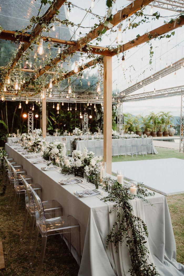 This ethereal + dreamy reception features white florals ...