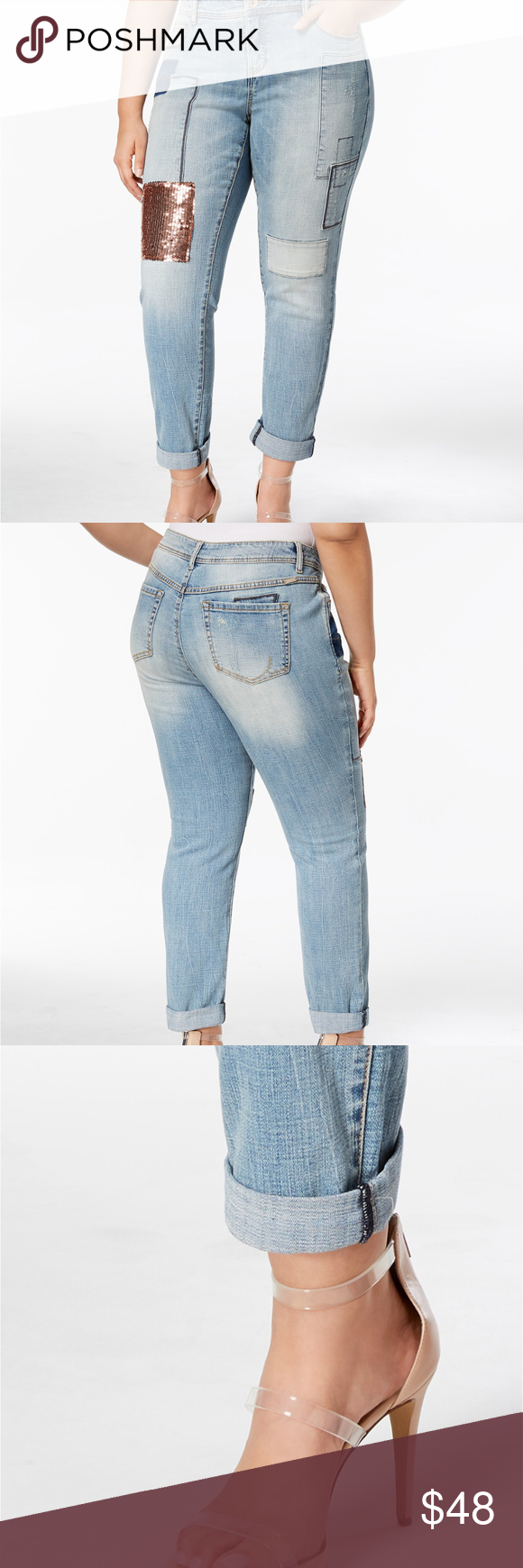 5ab9e69d94b I.N.C. Plus Size Sequin-Patch Boyfriend Jeans Sequined patches elevate the  boyfriend-chic silhouette