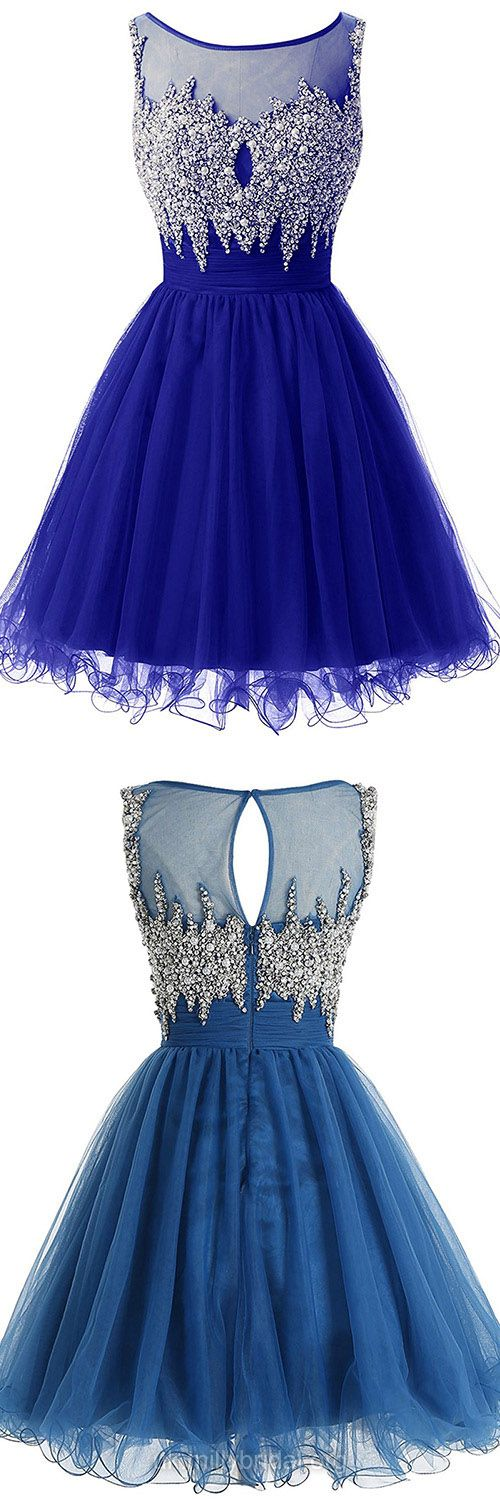 Royal Blue Prom Dresses Short, 2018 Prom Dresses For Teens Cheap, A-line Homecoming Party Dresses Scoop Neck, Sexy Cocktail Dresses Tulle Pearl Detailing