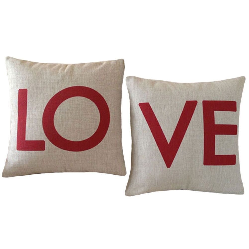 pair decorative pillow cover linen red love gift words print