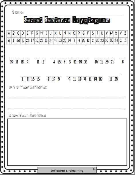 Word Work Center Cryptogram Puzzle Worksheets Program Aligned