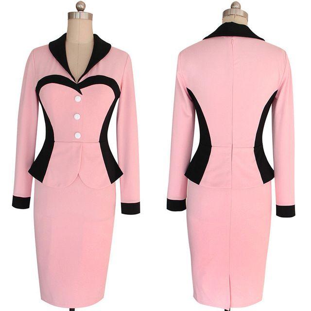 2016 mujer de manga larga vestido Formal de trabajo para mujer Pin ...