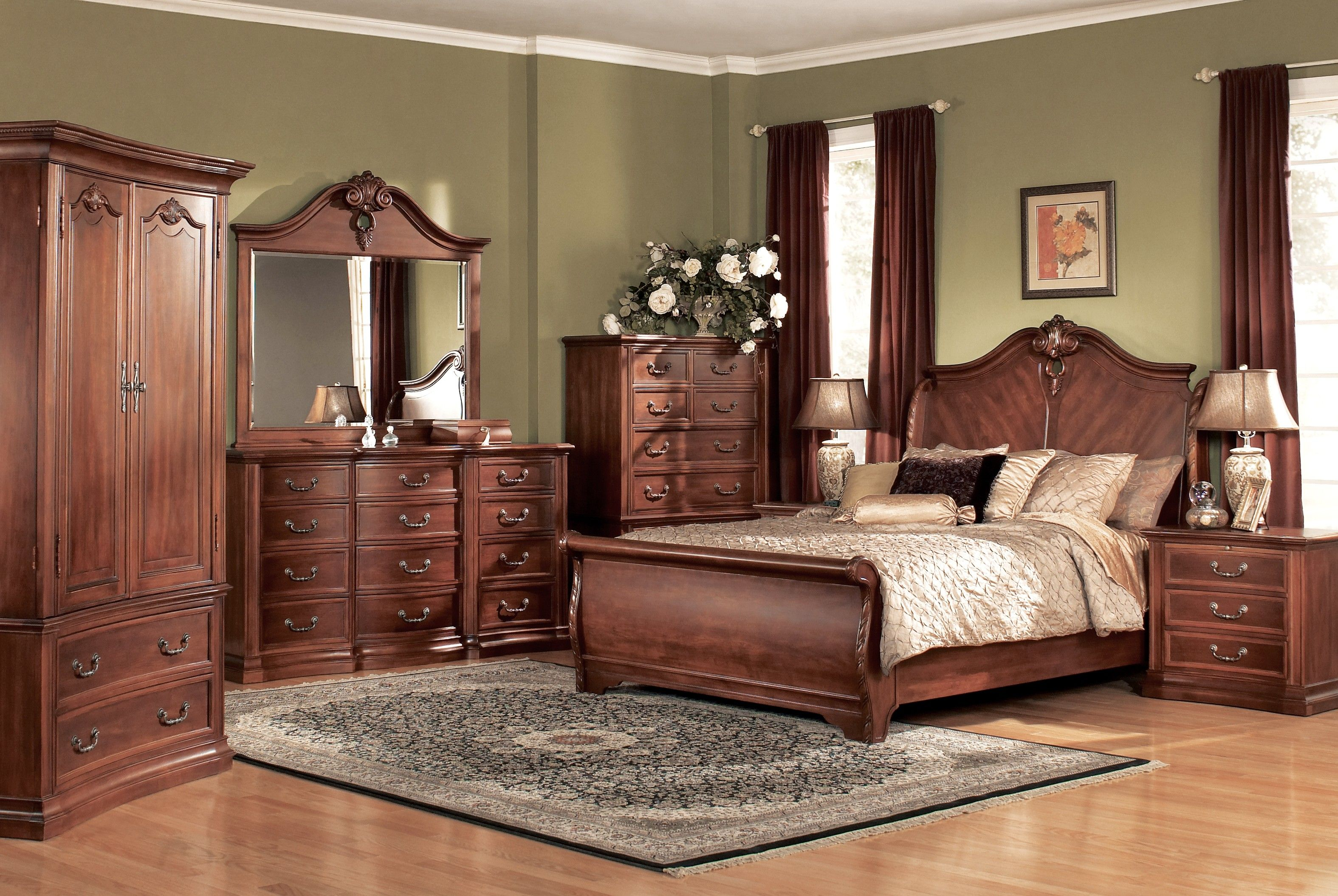 cherry bedroom with walmart lamps of traditional sets wood furniture unique