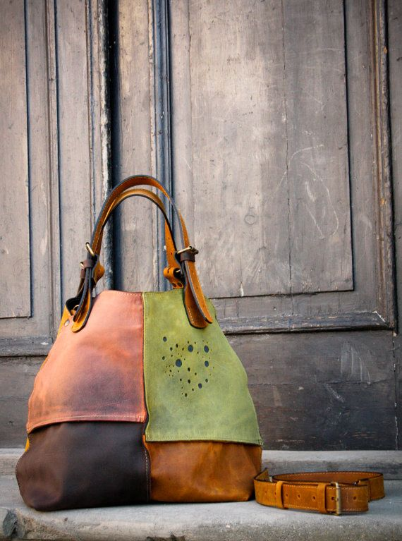 Oversized Duffle Purse Tote Bag Woman Original Leather Alicja whiskey shoulder customizable handbag hobo vintage style unique ladybuq gift