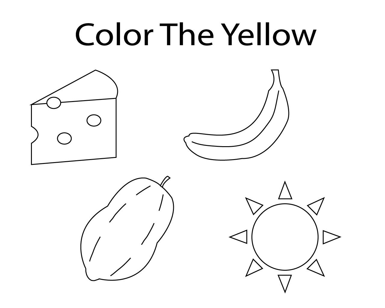 Yellow Coloring Pages For Toddler Coloring Pages For Toddlers Printables Kindergarten Coloring Pages Coloring Pages
