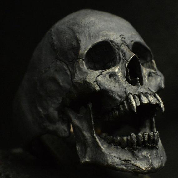 Human Jaw Tattoo: Anillo De Calavera Vampiro Abrir Mandíbula Plata Por