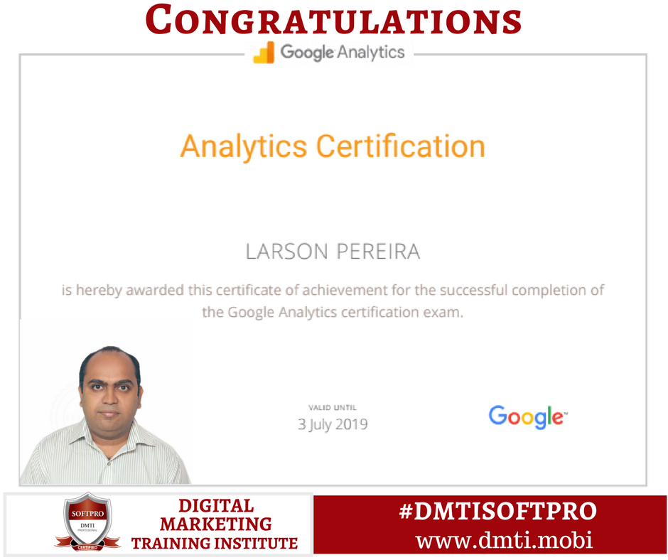 We Congratulate Our Student Larson Pereira On Successfully Passing