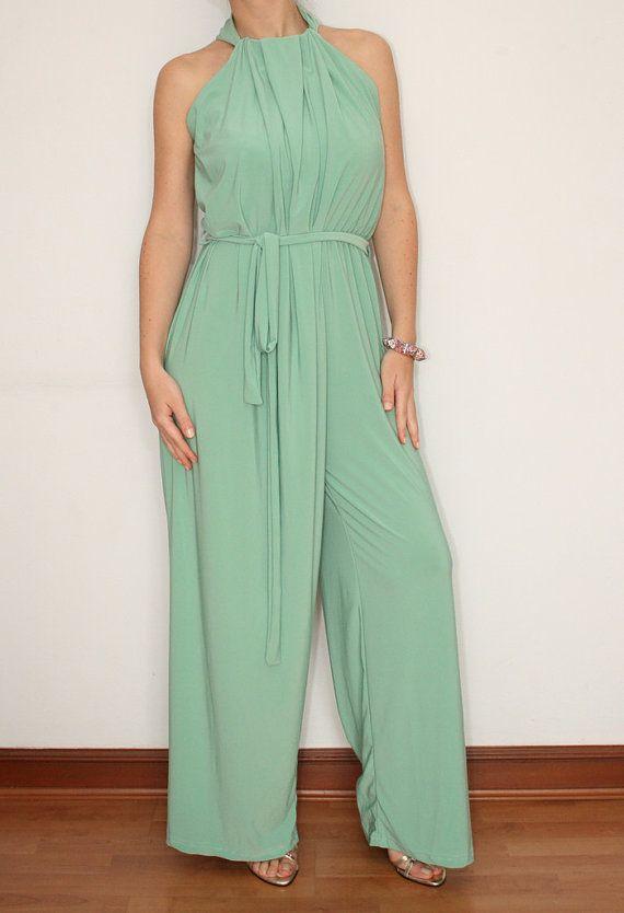 48bb4f7eb5c5 Mint Green Palazzo Jumpsuit Women Wide Leg Pants by KSclothing