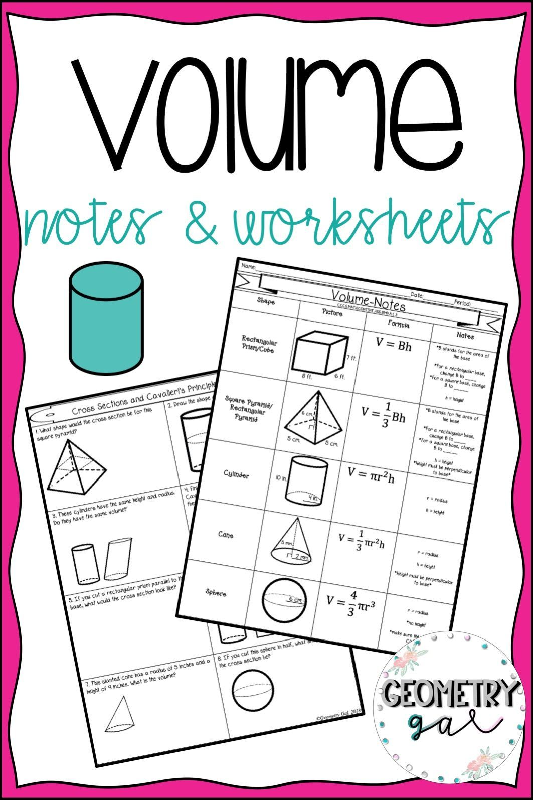 Volume Of Cylinders Cones And Spheres Practice Worksheet