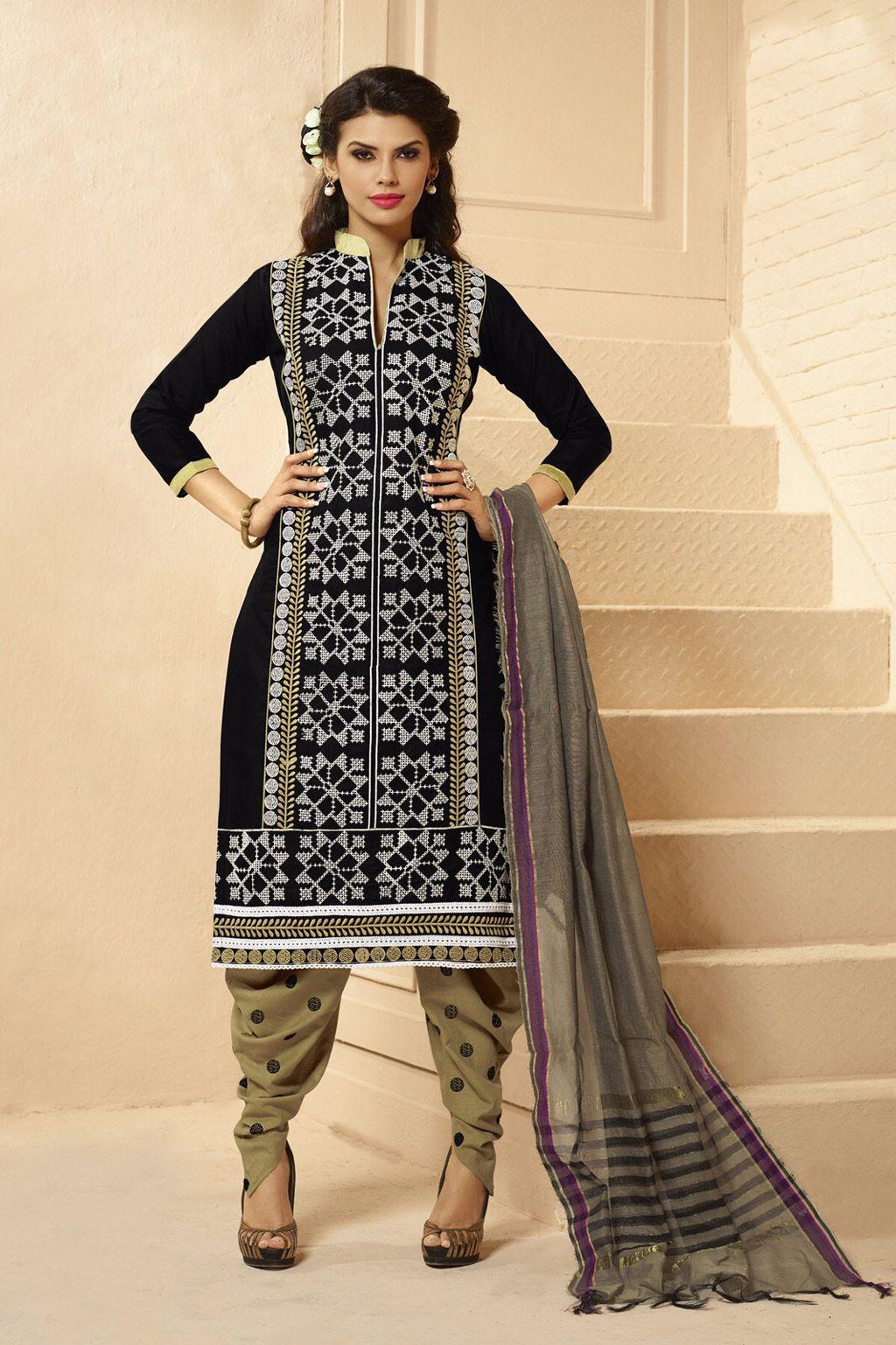 Black Cotton Punjabi Suit 60316