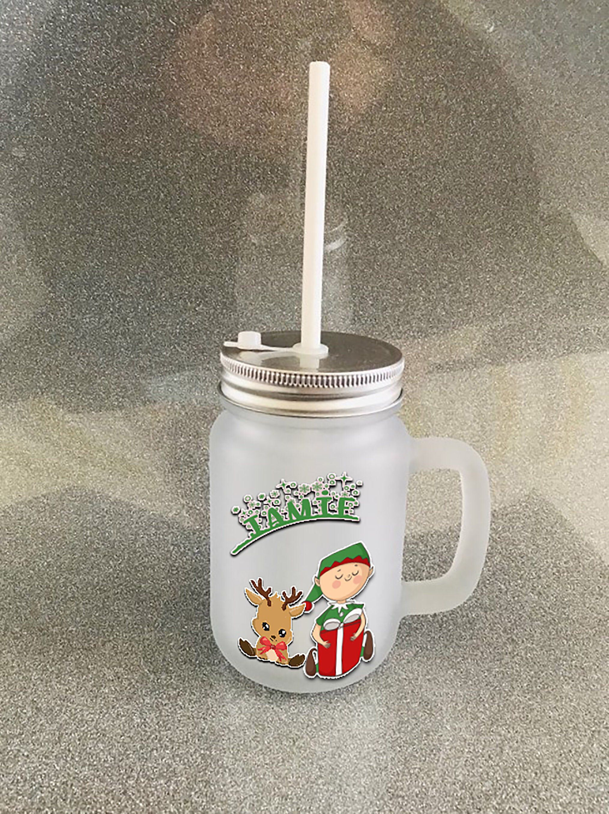 Excited To Share This Item From My Etsy Shop Childrens Personalised Masonjar With Straw And Screw Lid Ad Personalized Mason Jars Mason Jars Etsy Christmas