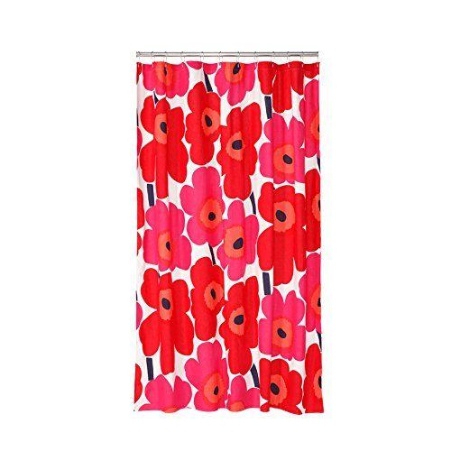 Amazon Com Shower Curtain Marimekko Unikko Red Home Kitchen