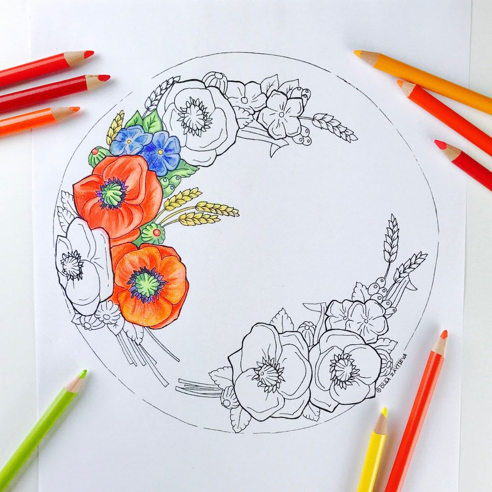buttercream poppies flower wreath cake coloring page for adults