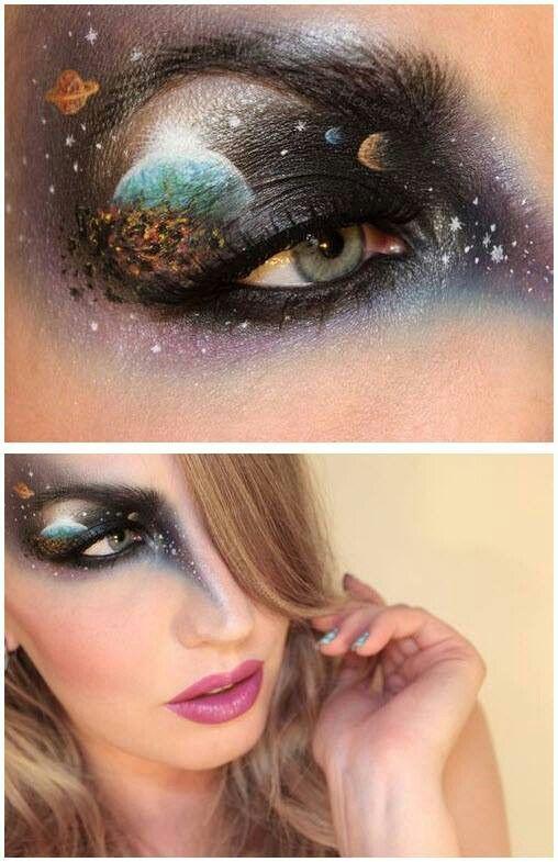 Again star galaxy planet eye make up | Make up | Pinterest