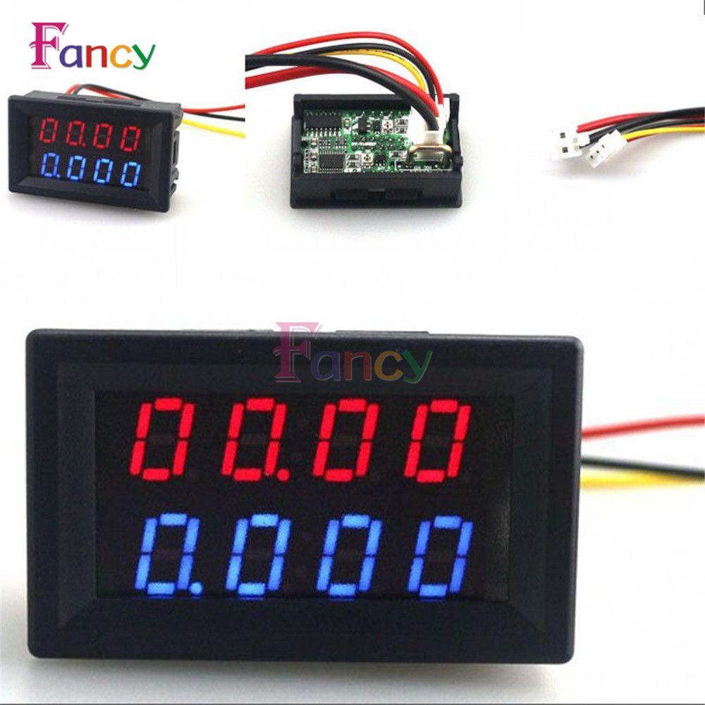 5 Wires DC 0-200V 10A 4 Bit Voltmeter Ammeter Red+Red LED Amp Dual Digital Volt