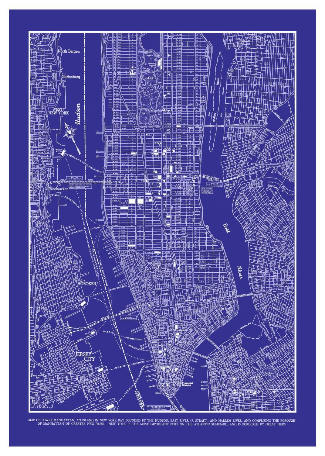 New york city map 1944 new york city manhattan street map vintage 1944 new york city manhattan street map vintage blueprint 20x30 print poster 2995 via etsy malvernweather Image collections