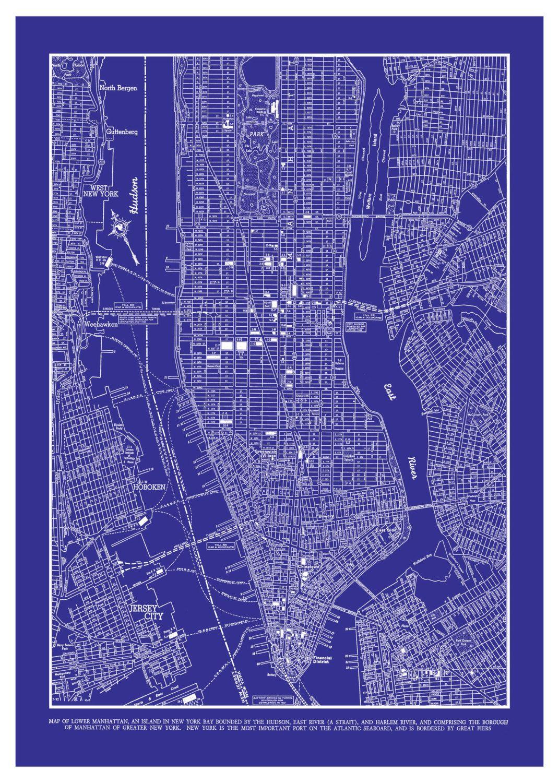 New york city map 1944 new york city manhattan street map vintage 1944 new york city manhattan street map vintage blueprint 20x30 print poster 2995 via malvernweather Image collections