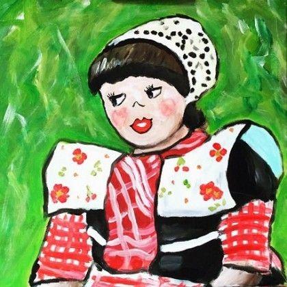 """Hollandse klederdracht. Vrouw met Spakenburgse klederdracht. Een echte """"Evertsie"""" Kom 'm schilderen op 19 september in Bunschoten Spakenburg"""