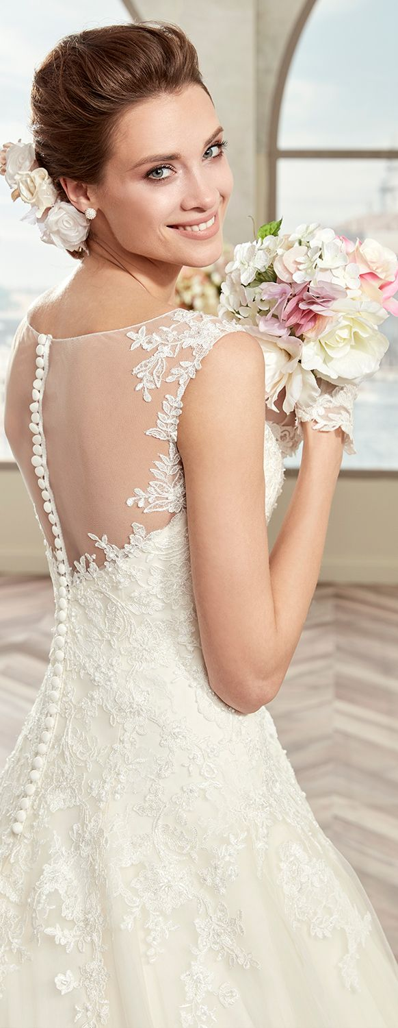 Colet Dark Ivory A Line Dress In Tulle With Rebrodè Beading Lace And