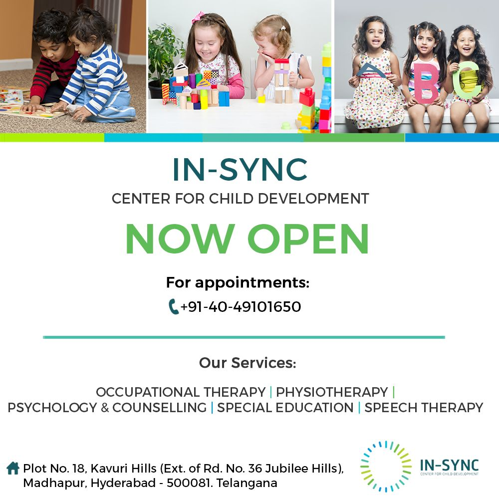 NOW OPEN! Hyderabad's first multi-disciplinary center for child development. In-sync center provides quality support and services to enhance the capacity of families to meet the developmental needs of children from birth to age 6. For appointment call: +91-40-49101650 / +91-9133758811 www.in-sync.in #developmentaldelays #kidslearning #childcarecenter #developmentaldelays #toddlers