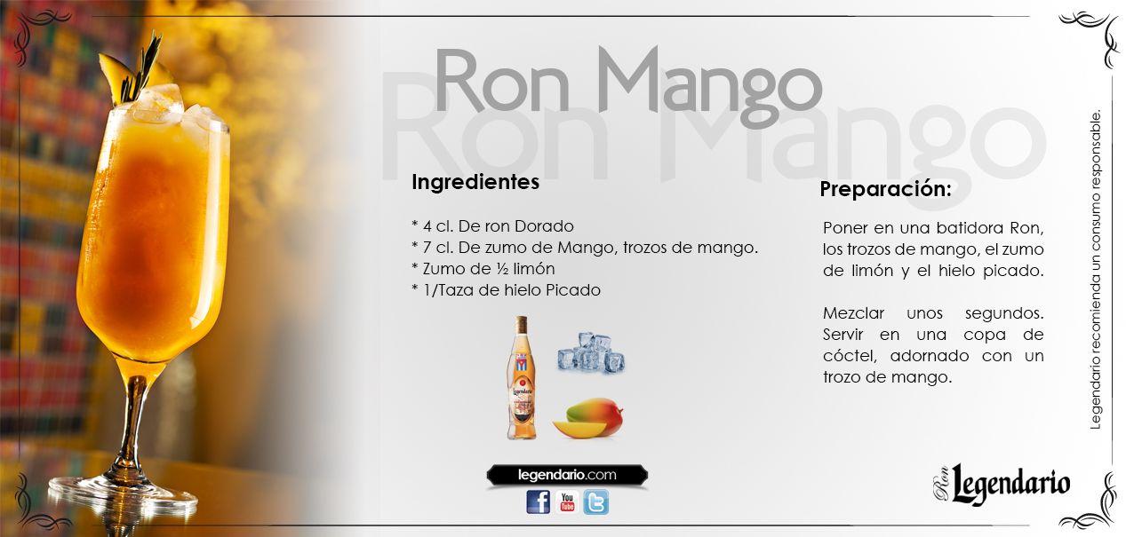 Cocktail Ron Mango Ron Legendario Ingredientes 4cl De Ron Dorado 7 Cl De Zumo De Mango Trozos De Mango Zum Cóctel De Ron Hielo Picado Copa De Cóctel