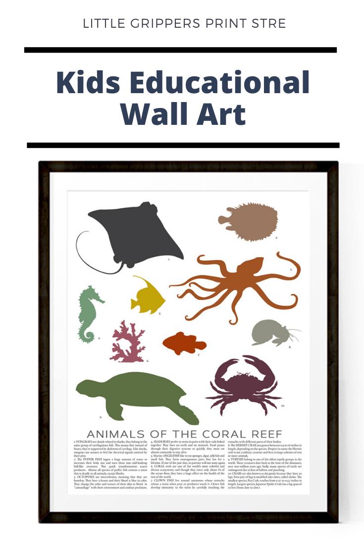 Animal Chart Print Ocean Theme Nursery Coral Reef Print Beach Wall Decor Kids Ocean Decor Classroom Decor Sea Animal Art In 2020 Ocean Themed Nursery Nautical Wall Art Educational Wall Art