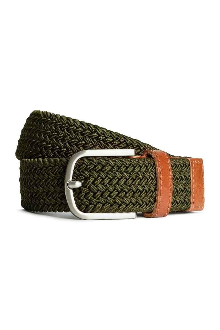 Elasticated fabric belt - Dark khaki green - Men   H M CA 1 ... 18a43b326dc