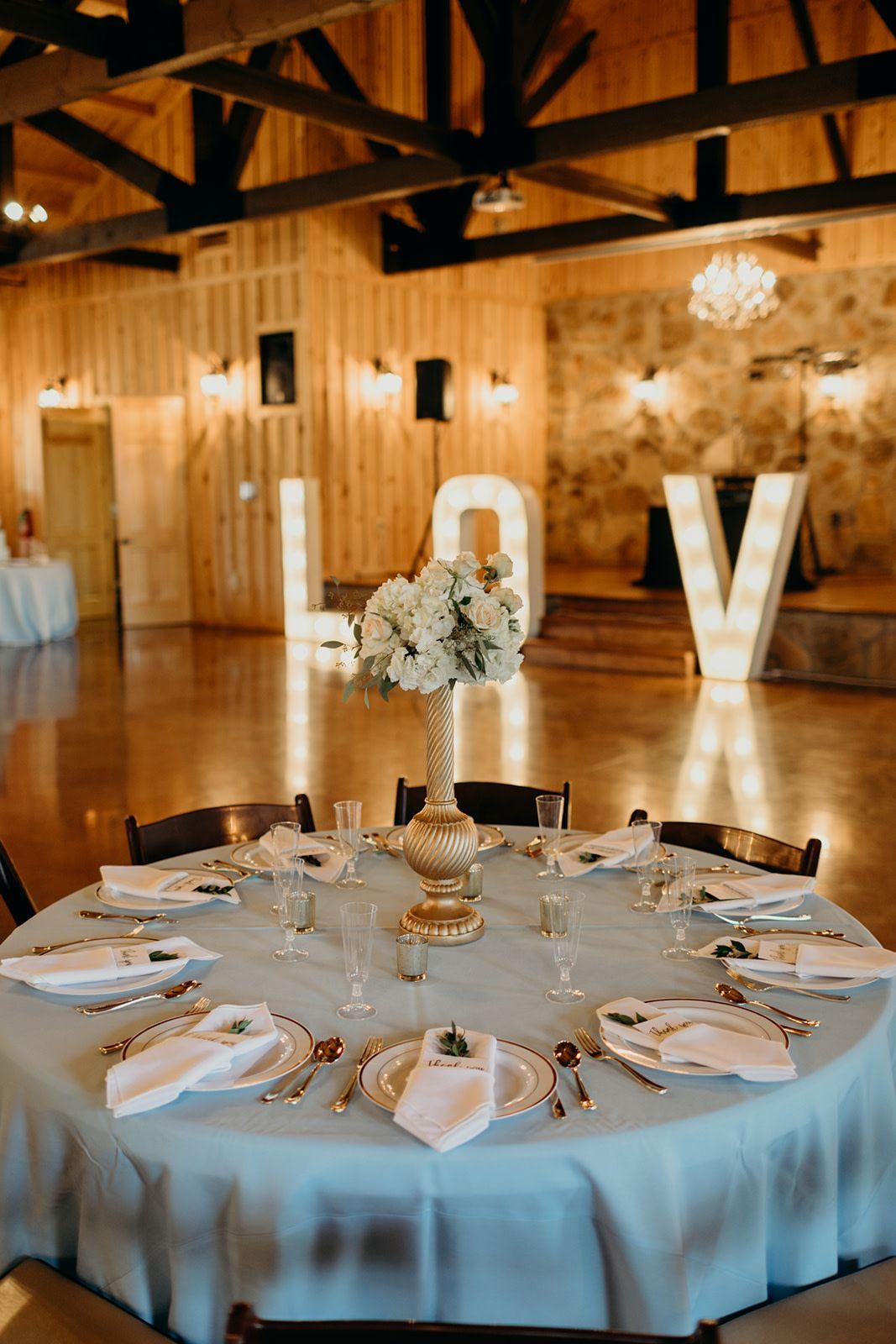 Dusty Blue Gold White Wedding Reception Decor Elegan