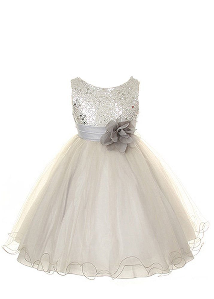 f272631a1ba9 Your little girl will sparkle in this gorgeous silver sequined dress ...