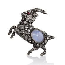 Antique English Diamond, Star Sapphire and Silver Topped Gold 'Billy' Goat Brooch