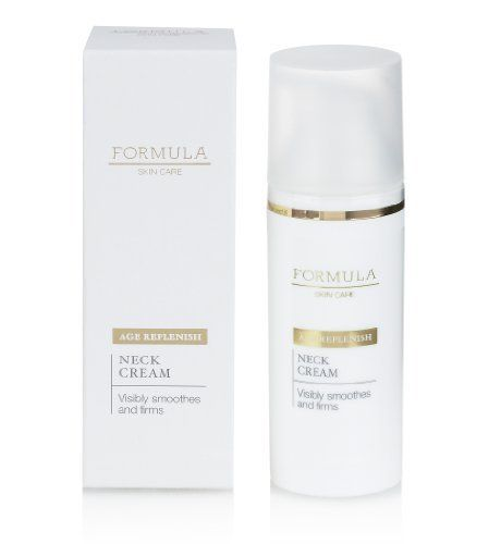 Formula Skin Care Age Replenish Neck Cream 50ml Product Code: T225710F £12.00  Visibly smoothes and firms; skin is tightened and lifted with this luscious neck cream. Delicate, mature skin is moisturised leaving it firmed for a smoother neck and decollete. 50ml Specially formulated for 50+ yrs Apply every morning after cleansing and toning. Gently massage with fingertips into your neck and decollete, using light upward strokes. In my kit.
